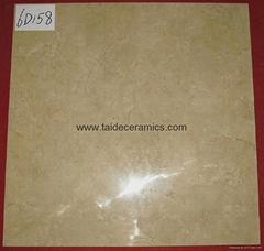 厂家直销6D高清数码喷墨全抛釉,西班牙米黄,600*600cm 6D158