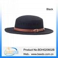 Fashion wool felt pork pie hat black