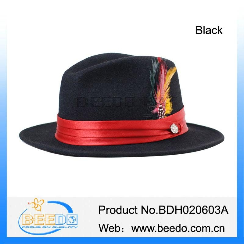 72f888daf78e6a New black fedora formal mens jew hat with red band - BDH020603A ...