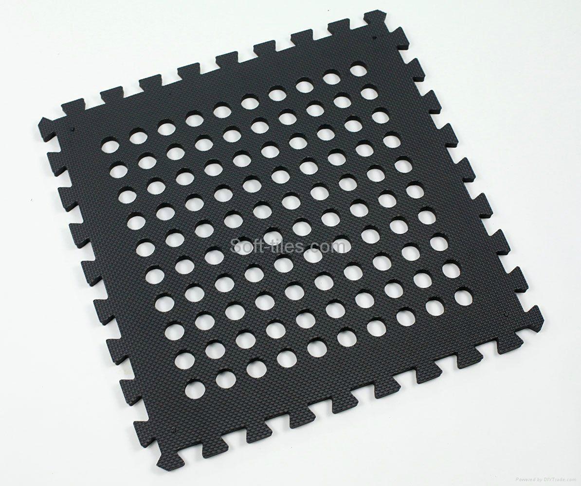 Rubber floor mat jigsaw -  Black 60 60cm Holes Foam Eva Square Rubber Interlocking Jigsaw Outdoor Jigsaw Ma 5