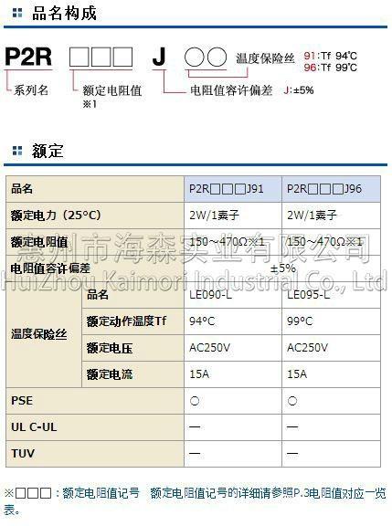 TAM田村水泥电阻器 P2R 中国区一级代理   2
