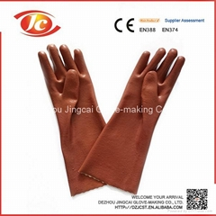 sandy finished cotton and PVC gloves for oil-resistant in chemical industrail
