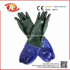 single dipped smooth finished PVC gloves with soft PVC sleeve interlock liner