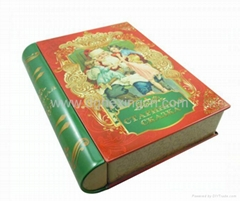 Book shape metal tin box for cookie