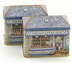 House shape cookie tin box with factory price