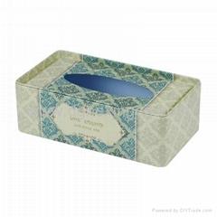 Vintage rectangular tissue napkin metal tin box