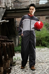 reflective grey and red polyester and cotton workwear coverall