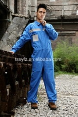 blue with gray 100% cotton workwear coverall