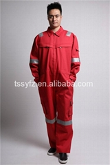 International mens hi vis red workwear coverall