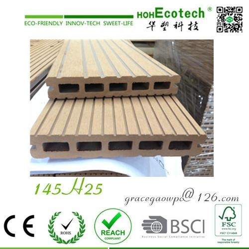Outdoor wood groove board antisplit eco flooring China composite pe wpc decking  1