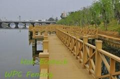 streamside river bank guard wood plastic composite wpc fencing railing