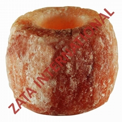Himalayan Natural Rock Tea Light Salt Candle Holder Double Cut 0.9 to 1.1 Kg