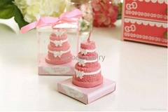 Pink 3 Layers Rose Cake Bow Candle For Wedding Party Birthday Souvenirs Gift