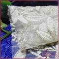 Netting lace embroidered with gold thread