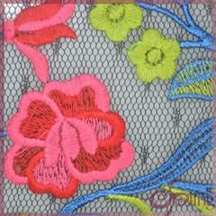 Multicolor flower embroi