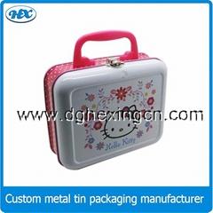 Metal tin lunch box for kids, metal tin suitcase, tin box with handle