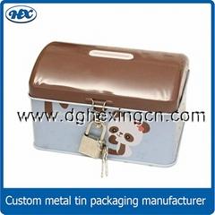 Metal tin coin bank with key and lock, money box, saving box