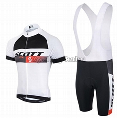 2015 Scott White Black Cycling Clothing Bike Jersey Bike Clothing Cycling Jersey