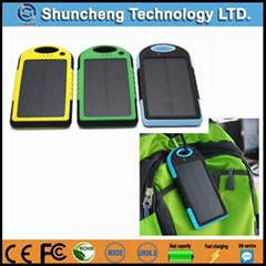 5000mah waterproof universal portable solar mobile phone charger power bank