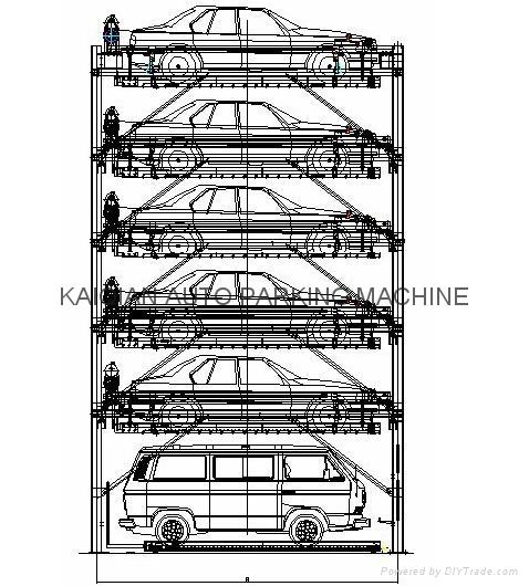 6 Levels Lift-sliding Parking System Cheap Car Elevator