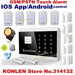 LCD Touch Pstn Gsm Alarm System With Ios App Android Control Alarme Home Sec