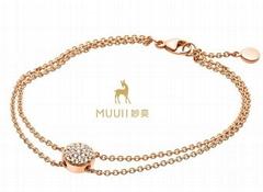 MUUII 玫瑰K金镶钻锆石手链女