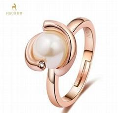 MUUII天然淡水珍珠開口戒指