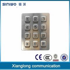 High quality bluelight usb metal numeric keypad backlit 3x4 kiosk keyboard