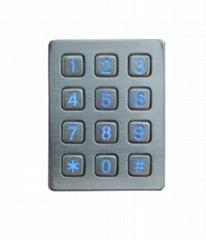 IP65 brushed metal stainless steel industrial backlit rugged keyboard