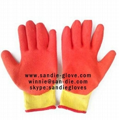 Wrinkled palm 13/10/8 gauge Nylon dipped rubber glove