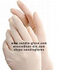 Disposable latex glove powder free
