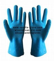 Wrinkled rubber flock lined glove