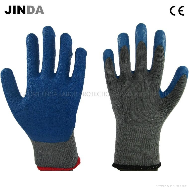 Latex Coated Knitted Yarn Shell Labor Protective Safety Work Gloves (LS001) 1
