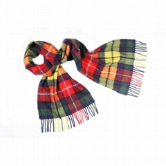 100% 2 ply fine-check women cashmere tartan scarf