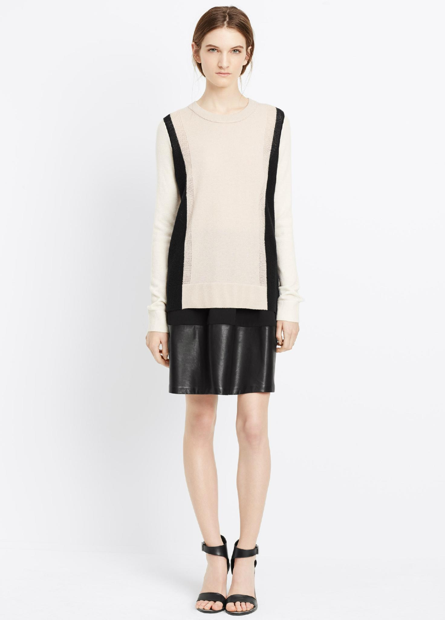 100% cashmere sweater Two-Tone Knit women cashmere sweater  1