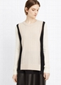100% cashmere sweater Two-Tone Knit women cashmere sweater  4