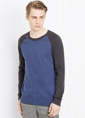 cotton cashmere sweater men crew neck sweaters two colors knitwear