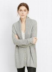 women wool cashmere cardigan shawl collar lady sweater rib cardigan sweater
