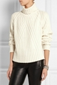 Ribbed 100% turtleneck cashmere sweater