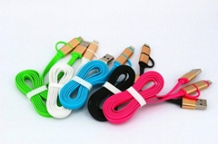 New ! 1m Micro USB Data Travel Sync Flat Charger Cable Lines For Android Phones