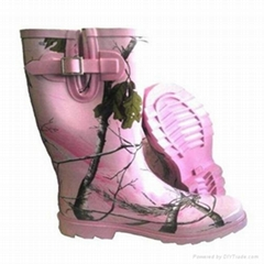 Pink rubber boots with a