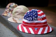 fashion children short brim flat top sun protect bucket hat