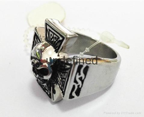 Hot sale stainless steel men's jewelry skull casting ring biker man's ring  3