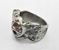 Hot sale stainless steel men's jewelry skull casting ring biker man's ring  5