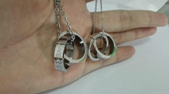 Fashion stainless steel Eternal love couple rings pendant necklace