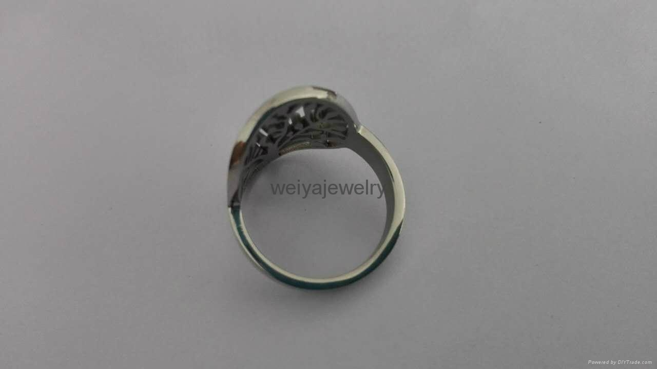 Fashion 316l stainless steel hollow out tree ring  4
