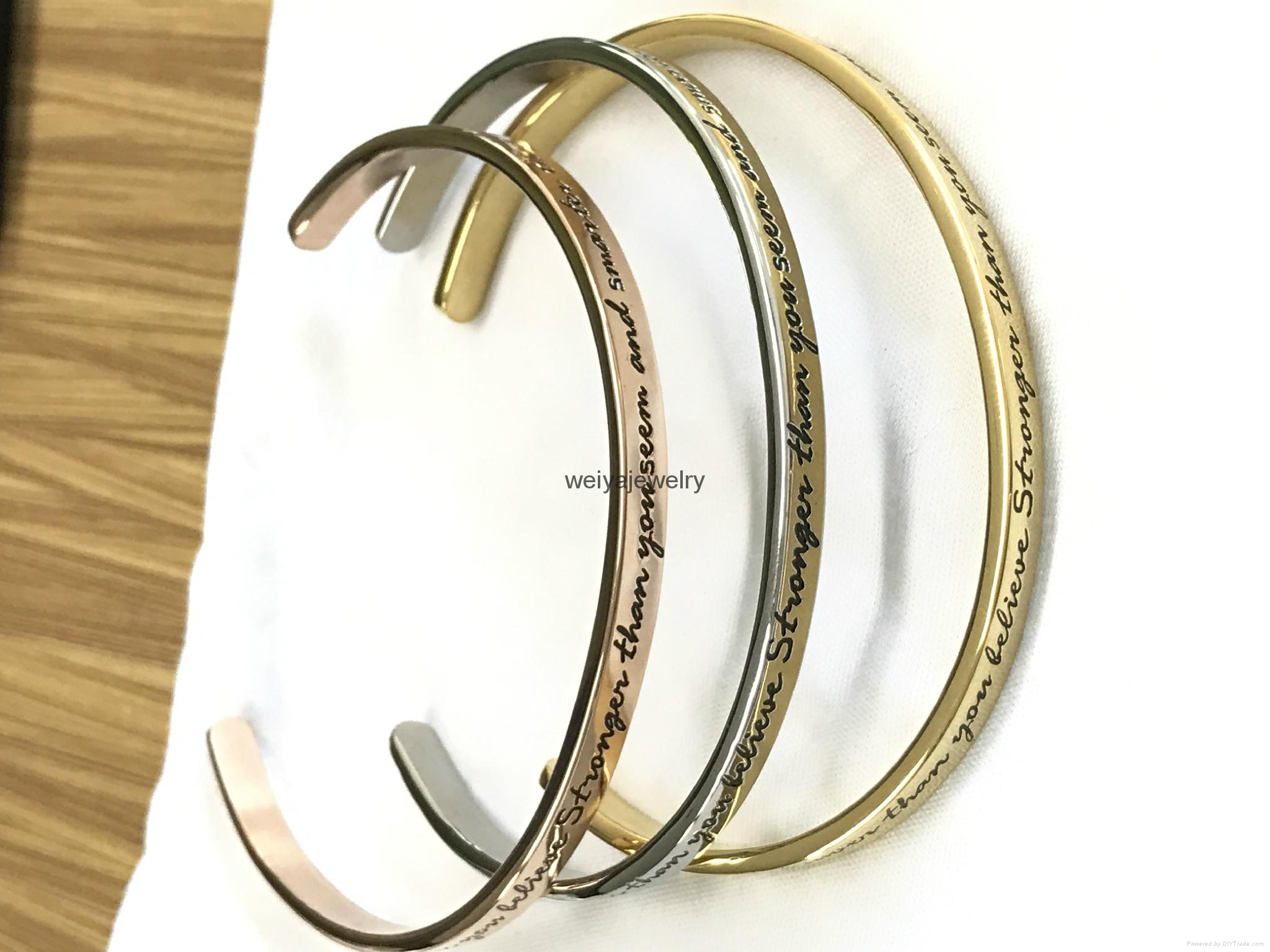 Fashion stainless steel high polished inspiration engraved message cuff bracelet 2