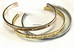 Fashion stainless steel high polished inspiration engraved message cuff bracelet