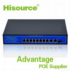 8 Port CCTV Hisource 8 poe switch 1 Fiber port Ethernet Tansmission for IP Camer