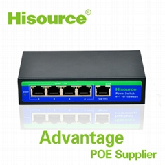 Ethernet 4 port 100Mbps passive desktop poe switches with 24V 3Apower supply